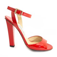 db0e1a03bd2e Labellov Jimmy Choo Red Patent Leather Sandal Heels ○ Buy and Sell Authentic  Luxury
