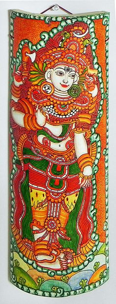Lord Shiva - Wall Hanging - Mural Painting on Bamboo from India