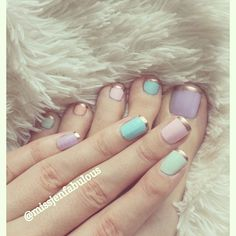 Like pastels with gold tip but I would probably only do one colour.  Easter nail art! Easter pedicure and manicure