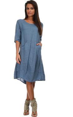 buyinvite.com.au - Linen Short Sleeved Dress Jennifer Blue - buyinvite.com.au