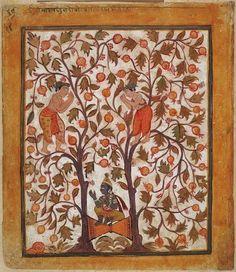 Krishna Splits the Double Arjuna Tree, freeing Nalakuvara and Manigriva