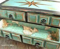A Painted Treasure Chest Masterpiece with nautical compass rose and map lining on the inside. #furnituremakeover
