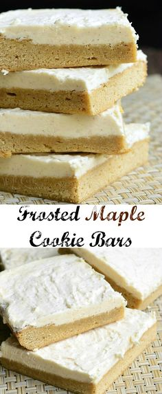 Frosted Maple Cookie Bars - Will Cook For Smiles Cookie Desserts, Cookie Bars, Just Desserts, Cookie Recipes, Delicious Desserts, Baking Desserts, Cookie Ideas, Tea Cakes, Shortbread