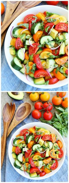 Tomato, Cucumber, and Avocado Salad Recipe on http://twopeasandtheirpod.com This fresh and simple salad is a summer favorite! It goes great with any meal!