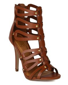 Faux Leather Cut Out Gladiator Ankle High Heel Pumps Tan