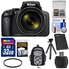 Nikon Coolpix P900 WiFi 83x Zoom Digital Camera with 32GB Card  Battery  Filter  Backpack  Tripod Kit Certified Refurbished -- You can find more details by visiting the image link.