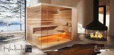 Moderne Sauna fürs Wellness-Bad. Mir fast ein wenig zu offen