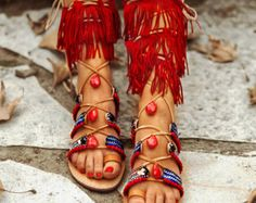 Sandalias de Gladiador de hippie India / encaje por SandalsofLove