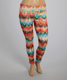 Another great find on #zulily! Red & Blue Wilderness Leggings - Plus #zulilyfinds
