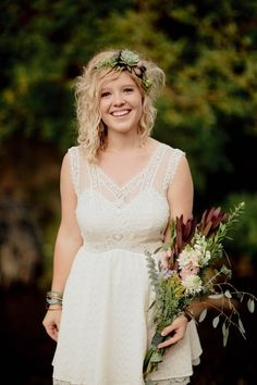 Lace dress, succulent floral crown, and green bouquet   Photo by Geoff Duncan