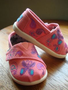 Pink paisley and butterflys hand painted tiny TOMS