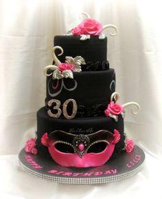 Pink and Black Masquerade Birthday Cake  ~ all edible