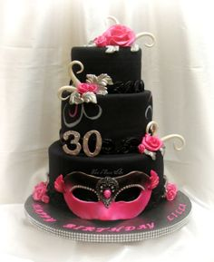 Pink and Black Masquerade Birthday Cake  ~ all edible