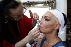 Creative Director Alex Box applying Karen's make-up