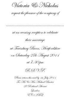 Wedding Reception Only Invitations Wording