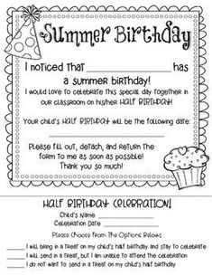 Summer Birthday - Half Birthday Celebration Form {Free} - Maybe? Depends on how many for the summer birthday bash. Beginning Of School, New School Year, School Holidays, School Fun, School Ideas, Classroom Birthday, First Grade Classroom, Kindergarten Classroom, Classroom Ideas