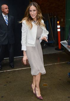 Sarah Jessica Parker,  soft summer outfit besides the stark white jacket