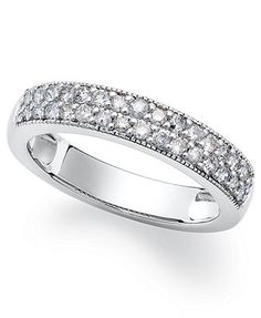 Sterling Silver Ring, White Diamond Stackable Ring (1/2 ct. t.w.)