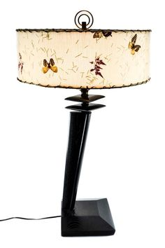 Vintage Mid Century Modern 1950's Table Lamp w Vintage Butterfly Shade   Antiques, Periods & Styles, Mid-Century Modernism   eBay!