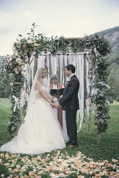 Romantic French Country chuppah and rose petal aisle   Reverie Gallery