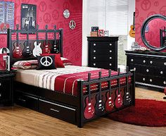 Awesome 37 Casual Music Bedroom Design Ideas That You Must Try Twin Bedroom Sets, Bedroom Furniture Sets, Girls Bedroom, Dark Furniture, Rock Bedroom, Teenage Bedrooms, Boy Bedrooms, Childrens Bedroom, Dream Bedroom