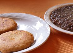 Tortitas de papa (potato croquettes, left) and frijoles negros (black beans, right) from the south of Mexico are ideal for a Lenten meal.