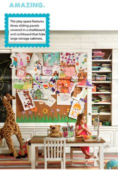 My formula for the perfect playroom i love having both chalkboard and cork & the size is perfect. GO BIG OR GO HOME