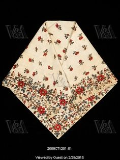 Neckerchief with floral design. France, late 18th century