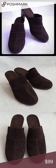 """Brown Suede Leather Clog w Heel Mules Rich chocolate suede leather mules or clog with 3"""" heel. Embossed design on half. Genuune leather. Style is """"JULIETTE"""" by Sonoma.  Excellent used condition. Smoke free and pet free home.   Check out my other listings - 100's of 👠shoes👠, 👢boots👢 and 👜bags👜. Bundle 2 or more and save money!💲💰💲 Sonoma Shoes Mules & Clogs"""