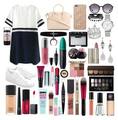 """Sin título #495"" by frichu on Polyvore featuring moda, adidas Originals, Givenchy, MICHAEL Michael Kors, Ray-Ban, Ilia, NARS Cosmetics, MAC Cosmetics, Stila y Maybelline"