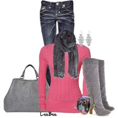 Great outfit all the way around but would switch the pink sweater for a different color. Not fond of pink myself.