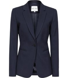 Womens French Navy Slim-fit Tailored Jacket - Reiss Topaz Blazer