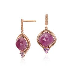 Frances Gadbois Ruby and Pink Sapphire Drop Earrings 18k Rose Gold (8x8mm), Women's, Ruby Sapphire Rose Gold