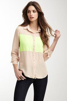 Neon Contrast Front Blouse- love this with some jeans and brown boots
