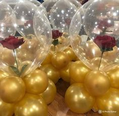 Beauty & the beast bday party - mottoparty - Beauty And Beast Birthday, Beauty And The Beast Theme, Beauty And Beast Wedding, Diy Beauty And The Beast Decorations, Quince Decorations, Balloon Decorations, Birthday Party Decorations, Birthday Parties, Birthday Centerpieces