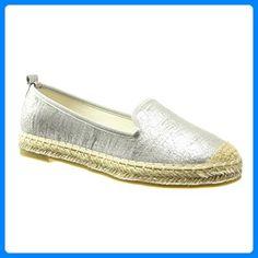 Angkorly - damen Schuhe Espadrilles Mokassin - Slip-On - Schlangenhaut - glänzende flache Ferse 2.5 CM - Silber LX128 T 38 - Espadrilles für frauen (*Partner-Link)