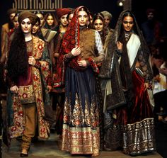 Models present creations from Indian designer Sabyasachi's collection during the fifth and final day of Lakme Fashion Week