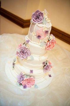 Vintage birdcage wedding cake in pastel colours by Corr's Cakes