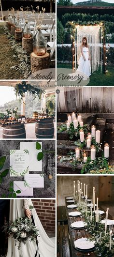 dark moody greenery woodland wedding color ideas