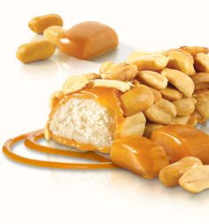 Atkins Peanut Caramel Cluster Bar. Think about a rich nougat center, dipped in caramel, then rolled in crunchy peanuts. Well guess what? It may taste like your favorite candy bar, but it's low-carb!