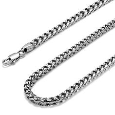 FIBO STEEL 3-6mm Curb Chain Necklace for Men Stainless Steel Biker Punk Style, 20-36 inches