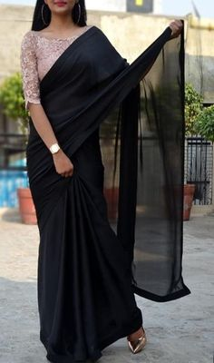 Saree blouse designs - Black satin georgette saree custom made designer chantilly lace blouse womens wedding party wear sari sarees – Saree blouse designs Black Saree Blouse, Saree Blouse Neck Designs, Fancy Blouse Designs, White Saree, Saree Jacket Designs, Indian Blouse, Dress Designs, Trendy Sarees, Stylish Sarees
