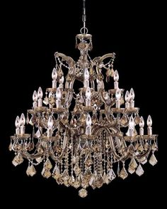 Crystorama - Crystorama Maria Theresa 26 Light Golden Teak Elements Crystal Chandelier