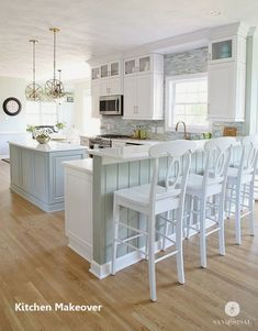This amazing Coastal Kitchen Makeover has white kitchen cabinets, a seaglass blue coastal backsplash, mixed metals and weathered oak floors. Cheap Kitchen Makeover, Kitchen Redo, Home Decor Kitchen, Rustic Kitchen, New Kitchen, Kitchen Ideas, Awesome Kitchen, 10x10 Kitchen, Kitchen Goods