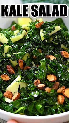 Whole Food Recipes, Diet Recipes, Vegetarian Recipes, Cooking Recipes, Healthy Recipes, Whole Foods, Simple Kale Recipes, Cooking Kale, Healthy Salads