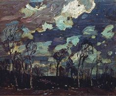Nocturne: The Birches (Alternate title: Nocturne), 1916 by Tom Thomson on Curiator, the world's biggest collaborative art collection. Emily Carr, Canadian Painters, Canadian Artists, Art And Illustration, Nocturne, Landscape Art, Landscape Paintings, Tom Thomson Paintings, Art Nouveau
