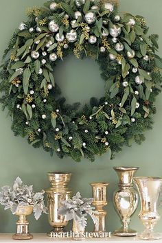 Create this glittering decoration by trimming a noble fir wreath with silvery ornaments and sprigs of seeded eucalyptus. Follow our step-by-step tutorial for this classic holiday wreath. #marthastewart #christmas #diychristmas #diy #diycrafts #crafts