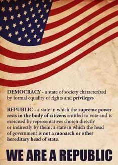 We are a Republic! Learn about America. America is a CONSTITUTIONAL Republic. Not a democracy. We strive for democracy. American Pride, American History, American Flag, American Quotes, American Symbols, American Spirit, Independance Day, Bill Of Rights, Out Of Touch
