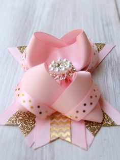 Pink and Gold Hair Bow, Pink and Gold Hair Accessory, Pink and Gold Headband, Pink and Gold Party, Gold Hair Bow, Pink Hair Bows, Ribbon Hair Bows, Baby Girl Bows, Girls Bows, Rose Gold, Pink And Gold, Bracelets Rainbow Loom, Gold Hair Accessories