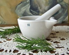 Vintage Mortar and Pestle Porcelain by cynthiasattic on Etsy, $69.00